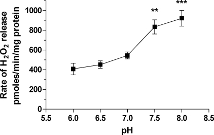 Acidic pH inhibits rotenone-induced ROS generation by RBM in the presence of glutamate and malate. Basic incubation medium supplemented with 1 mm Pi was used; concentration of rotenone was 1 μm. Statistical analysis was as follows. Data sets taken at pH 6.0, 6.5, and 7.0 were significantly different from that at pH 7.5 and 8.0 (n = 5–8; **, p < 0.01; ***, p < 0.001, t test).