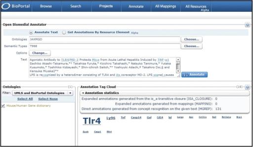 OBA gene mention annotation statistics  In BioPortal Re | Open-i
