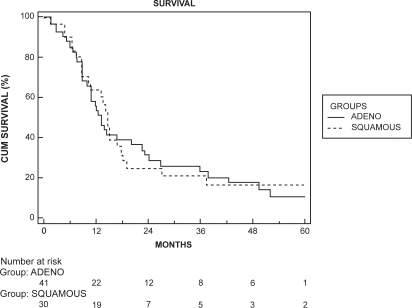 Kaplan–Meier survival curve for the nonmetastatic group stratified by histological types. There was no significant difference in survival (log rank test, p = 0.897).