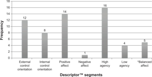 Distribution of segment clusters for all patients segmented (n=20).Note: *Balanced affect refers to individuals who scored equally on positive and negative affect (n=4) on the Descriptor or who could not be segmented (n=1).