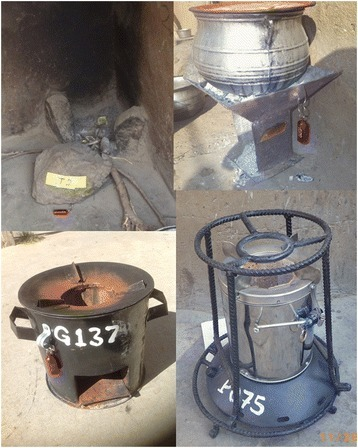 Traditional and improved stove technologies being compared in the REACCTING study, shown with Stove Use Monitors (SUMs) attached. Top left: traditional three-stone stove. Top right: traditional charcoal stove. Bottom left: Philips Smokeless Stove, Made in Lesotho (Southern Africa), Cost: ~US$125. Bottom right: Gyapa Wood-Burning Stove. Made in Accra. Cost: ~US$15-25.