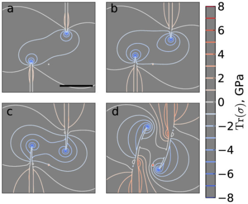 Wrinkle propagation is controlled by isotropic stresses.(a–d) Contour lines of the trace of the stress tensor outside the wrinkles during the evolution of an avoiding pair of wrinkles, with a field of view that excludes the sheet edges. The nucleus separations are X = Y = 56.6 nm. The line joining the wrinkle tips is a local maximum in the stress distribution and the tips propagate around the centre of this line, which is a saddle point. For clarity, the interiors of the wrinkles (defined by a height threshold of 2 Å) are not shown. All images have the same scale; the scale bar in panel (a) represents 100 nm.