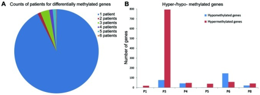 Differentially methylated genes. (A) Gene frequency of methylation in 6 patients. (B) Number of methylated genes in 6 patients. Red column indicates hypermethylated genes and blue column indicates hypomethylated genes. The x-coordinate represents 6 patients and the y-coordinate represents the gene number.