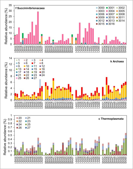 Relative abundance of individual methanogen and Succinivibrionaceae OTUs in group RA and AA.Relative abundance of OTUs identified as family Succinivibrionaceae, kingdom Archaea or class Thermoplasmata (recently reclassified as members of the order Methanomassiliicoccales) in individual liquid (L) and solid (S) rumen samples from groups RA and AA are shown. Different colours represent different OTU numbers. Taxonomic assignments for all OTU numbers are given in S1 Table.