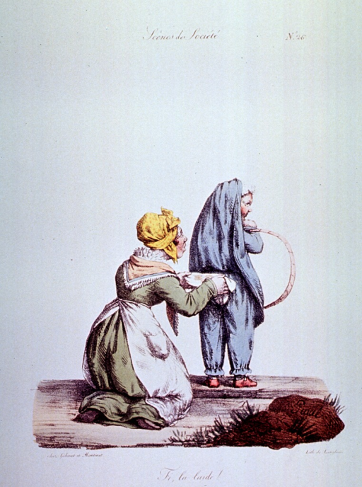 <p>Caricature:  A woman on her knees behind a child discovers that the child has soiled its undergarments.</p>