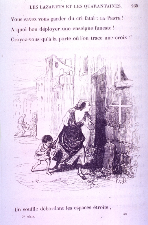 <p>A mother with her child peers in a doorway marked with a cross.  In the background, two men carry a dead body.</p>