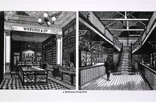 <p>Two vignettes of interiors of Australian drug stores.</p>