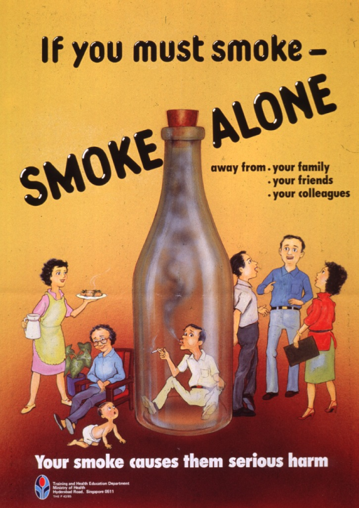 <p>Multicolor poster with black and white lettering.  Title in upper half of poster.  Visual image is a cartoon-style illustration of a man smoking while sitting in a corked, smoke-filled bottle.   A family scene of mother, grandmother, and baby is depicted to the left of the bottle.  A co-worker scene of two men and woman talking is depicted to the right of the bottle.  Caption and publisher logo at bottom of poster.</p>
