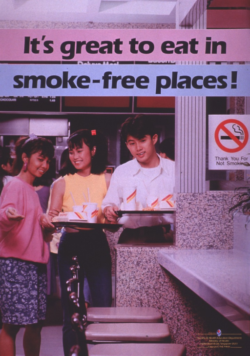 <p>Multicolor poster with blue and yellow lettering.  Title at top of poster.  Visual image is a color photo reproduction featuring three teens looking for a table in a fast-food restaurant.  A no-smoking sign is clearly posted.  Publisher information in lower right corner.</p>