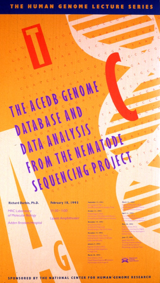<p>The poster is in various shades of orange with the DNA double helix down the right hand side.  The date (Feb. 18, 1993), time, and location of the lecture are listed, as well as the author's affiliation with the MRC Laboratory of Molecular Biology, Adden Brookes Hospital.  Lectures scheduled from Sept. 17, 1992 through June 17, 1993 are also listed.</p>