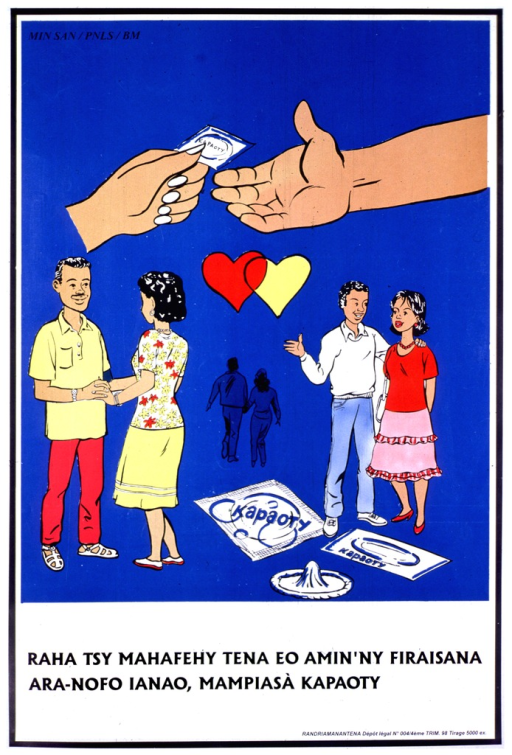 <p>Blue poster with black lettering, illustrated with three color drawings of couples.  Around them are condoms, linked hearts, and one hand offering a condom to another hand.  In the upper left corner:  &quot;Min San / PNLS / BM.&quot;</p>