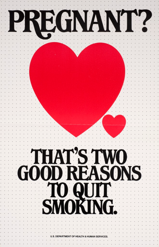 <p>Predominantly white poster with black lettering. Rows of black dots create the background. Visual image is 2 hearts side by side, one large and one small. Initial title phrase above image. Remaining title phrase below image.</p>