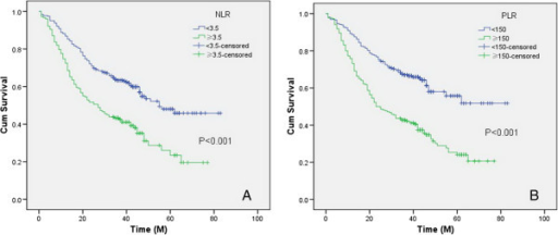 The overall survival grouped by NLR and PLR. Patients with NLR ≥3.5 had significantly poorer overall survival compared to NLR <3.5 (35.4% versus 57.7%, P < 0.001) (A). Patients with PLR ≥150 also had significantly poorer overall survival compared to patients with PLR <150 (32.7% versus 63.5%, P < 0.001) (B). NLR, neutrophil lymphocyte ratio; PLR, platelet lymphocyte ratio.