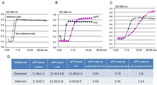 Fibrin formation kinetics on plasma in the presence of PC or aPC bound to OVCAR-3 cells tested by aPTT test. (A) aPTT test of adherent and detached OVCAR-3 cells without PC or aPC as controls. aPTT test of OVCAR-3 cells in (B) detached and (C) adherent conditions, in the presence of PC or aPC. (D) Real-time of aPTT (minutes) in different conditions. OVCAR-3, ovarian cancer cell line; PC, protein C; aPC, active protein C; aPTT, activated partial thromboplastin time.