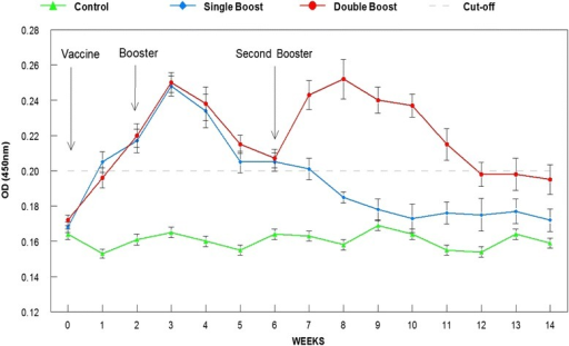 Serum antibody (IgM) response following oral vaccination with a feed-based vaccine. Double booster at weeks 2 and 6 prolonged the high antibody levels for up to 12 weeks compared to the single booster at week 2 that lasted 6 weeks