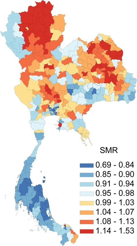 Geographical distributions of average annual standardized mortality ratio by super-district, 2001-2014