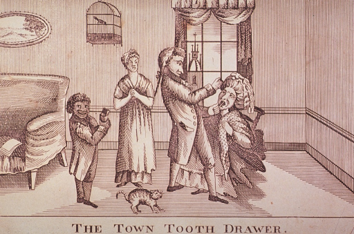 <p>Interior scene: A dentist is extracting a woman's tooth; another woman and a child observe; a frightened cat is in the foreground.</p>