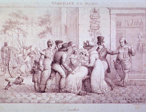 <p>Street scene:  A crowd gathers around a woman who has apparently fainted.  In the background, men struggle to control a horse attached to a carriage; to the left, a dog adds to the melee.</p>