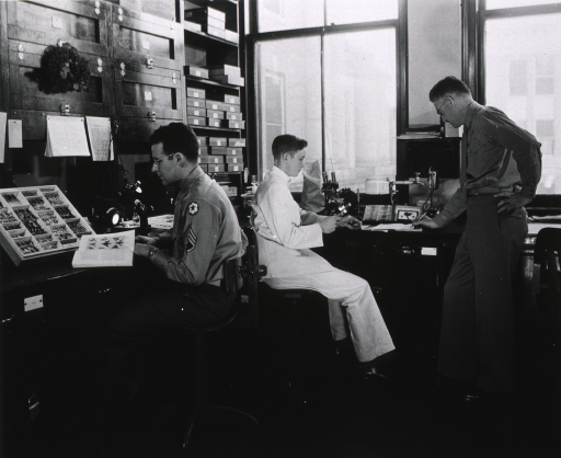 <p>Interior view: large windows above a laboratory table on which a microscope sits, a faucett is next to an outlet on the wall; under the table is a cabinet with a drawer dividing the work stations; on the adjacent wall is shelving, cabinets, and a work area with a specimen box and equipment.  A sargent is looking at a book.  In the background one man is sitting looking through a magnifying glass while another man is standing making notes.</p>