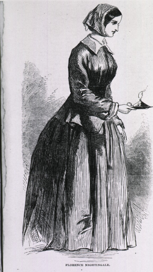 <p>Full length, standing, right profile, with a lamp in her right hand.</p>