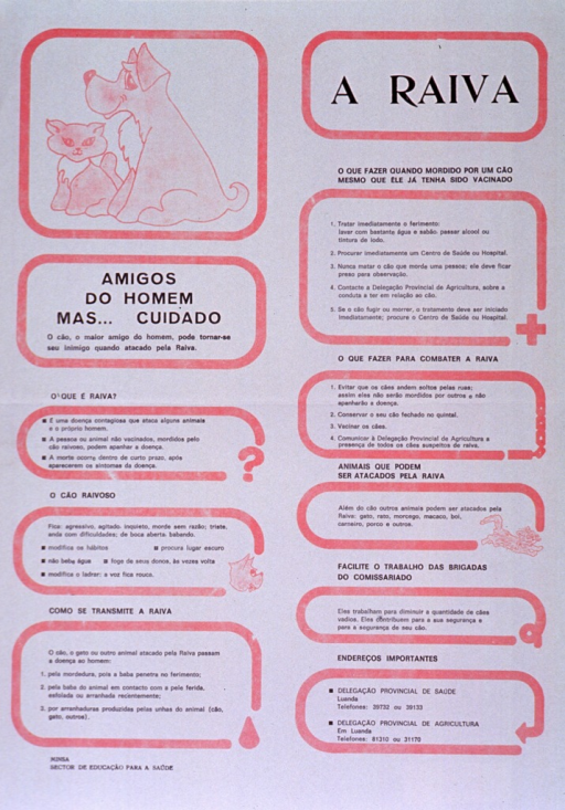 <p>White poster with black lettering and light pink highlights.  Title in upper right corner.  Visual image, in upper left corner, is a illustration of a dog and cat.  Poster dominated by text explaining rabies, how it is transmitted, what to do if bitten, ways to prevent the disease, and contact information for two relevant government offices.</p>