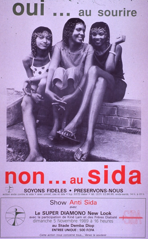 <p>Predominantly white poster with multicolor lettering.  Initial title phrase at top of poster.  Visual image is a b&amp;w photo reproduction featuring three young women sitting on a brick wall.  Remaining title text and caption below photo.  Caption urges faithfulness and protection.  Publisher information below caption.  Additional text at bottom of poster announces an &quot;anti-AIDS&quot; concert.  Performers, date, location, and cost are listed.</p>