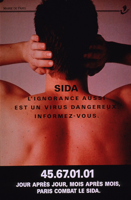 <p>Multicolor poster with black and white lettering.  Publisher information in upper left corner.  Visual image is a color photo reproduction featuring a man's bare back.  He holds his hands over his ears, as if trying not to hear something.  Title superimposed on photo near center of poster.  Caption at bottom of poster notes that day after day, month after month, Paris fights AIDS.</p>
