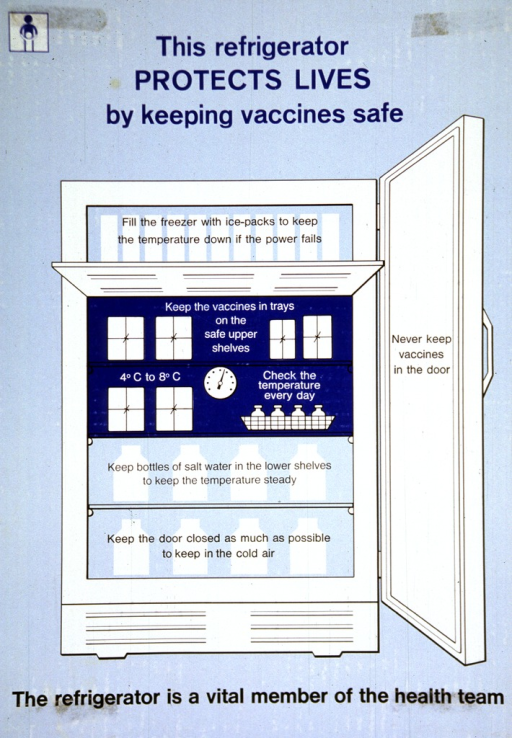 <p>Predominantly blue poster with blue and black lettering.  Title at top of poster.  Visual image is an illustration of a refrigerator.  Sections of the refrigerator are labeled with reference to safe vaccine storage, such as never keep vaccines in the door, keep the door closed as much as possible to keep in the cold air.  Caption below illustration.</p>