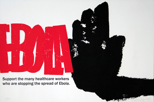 <p>A raised black hand, signifying &quot;stop&quot;, is to the right of the word &quot;Ebola&quot;, which is in red and all capital letters. 3rd edition of 20 posters, numbered and signed by the artist.</p>