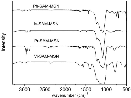 FTIR of different template-extracted SAM-MSM samples.