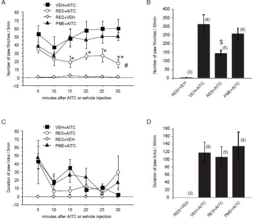 Resveratrol but not PME inhibits AITC-induced pain behavior. Resveratrol (RES, 300 μM, 50 μl) or PME (300 μM, 50 μl) was pre-treated subcutaneously 5 min before AITC (3% in 50 μl liquid paraffin) or vehicle (VEH) injection. A, C: Time course of the number of paw flinches (A) or duration of paw licks (C) induced by AITC or VEH after resveratrol or PME pretreatment, respectively. The number of flinches and duration of licks were counted per 5 min interval in the initial 30 min period after AITC injection. * p < 0.05, ** p < 0.01, versus VEH + AITC (one-way ANOVA followed by Fisher's PLSD); # p < 0.05, versus VEH + AITC group (two-way repeated ANOVA followed by Fisher's PLSD). B, D: Cumulative number of paw flinches (B) or duration of paw licks (D) in the initial 30 min period after AITC - or VEH - injection. $ p < 0.05, versus VEH + AITC, (one way ANOVA followed by Fisher's PLSD). Numbers in parentheses indicate number of rats used in each group.
