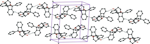 The crystal packing of compound (II), viewed down the b axis, showing the C5—H5⋯O2i hydrogen bonds (dashed lines), which result in the formation of C(8) chains. Hydrogen atoms not involved in this hydrogen bond are excluded for clarity. [Symmetry code: (i) x − , −y + , z − .]