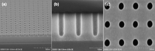 Cross-sectional and top-down SiO2 nanohole SEM views. a Arrays of α-Si mask nanohole are patterned by Cl2/HBr/O2 plasma chemistry. b SiO2 nanotrench arrays fabricated show an almost vertical etched profile with smooth sidewalls, and here, the α-Si mask has been removed selectively. cTop view of (b) showing a highly uniform etch performance