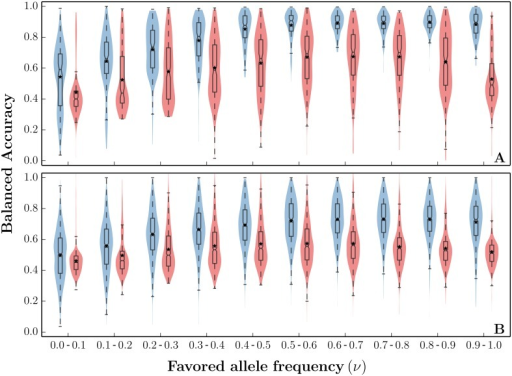 Predicting carriers of hard and soft sweeps.Balanced accuracy (Eq (16)) of PreCIOSS in populations undergoing hard and soft sweeps. For each frequency bin, (A) 200 samples were simulated (n = 200, θ = 48, ρ = 25) undergoing a hard sweep (s = 0.01, ν0 = 1/20000), and (B) 200 samples were simulated undergoing a soft sweep (s = 0.01, ν0 = 0.02). We split each sweep into intervals as ν progresses ([0.0, 0.1] through [0.9, 1.0]). For each ν interval, we show the distribution of balanced accuracy using standard violin plots (blue). For comparison, we also plotted the balanced accuracy of iHS adapted to predicting carrier haplotypes (red).