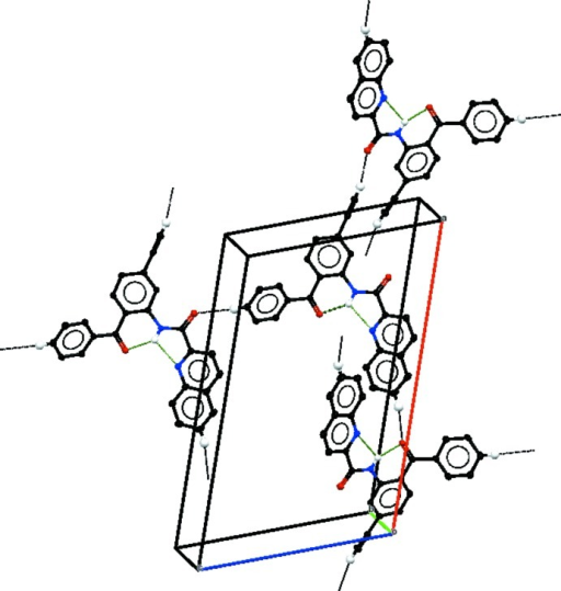 A partial packing diagram of the title compound, viewed approximately along the b axis, with inter­molecular hydrogen bonds shown as black dotted lines and intra­molecular hydrogen bonds shown as green dotted lines.