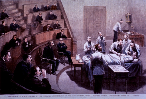 <p>Operating ampitheatre.  Instruction in surgery, adminstering ether to a patient.</p>