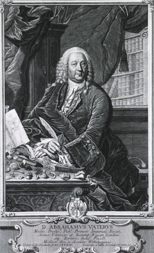 <p>Seated at table with various natural specimens; books, curtain, etc. in background; in frame on fancy base with Latin inscription.  Coat-of-arms.</p>
