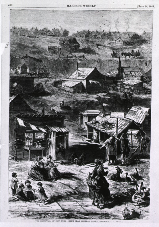 <p>The squatters of New York - scene near Central Park, showing slum shacks.</p>