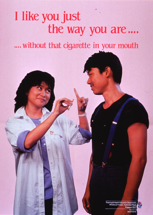<p>Pink poster with dark pink lettering.  Title at top of poster.  Visual image is reproduction of a color photo of a young man and young woman.  The woman, on the left side of poster, has apparently plucked the cigarette from the man's mouth.  She holds the cigarette in one hand and makes a scolding gesture with the other, though she is smiling and looking up at the man.  The man, on the right side of the poster, stands almost in profile.  He simply looks at the woman and smiles.  Publisher logo in bottom right corner of poster.</p>