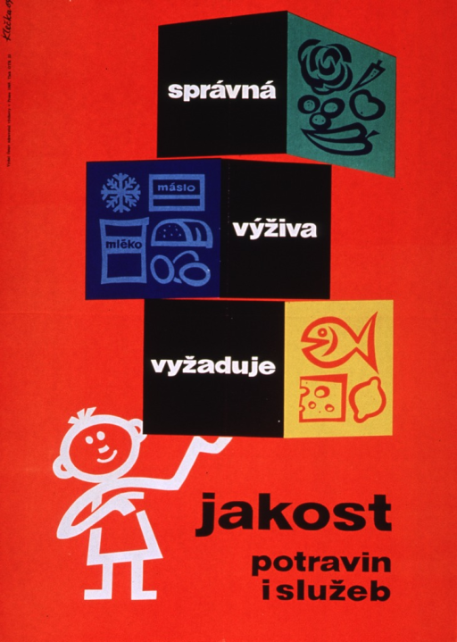 <p>Predominantly red poster with white and black lettering.  Initial title words incorporated with illustrations of different food groups in upper portion of poster.  The food groups are made to look like cubes or blocks, which are then supported by a stick figure person who stands in the lower left corner of the poster.  Remaining title text next to stick figure.  Title addresses the idea of good nutrition requiring quality food.  Publisher information on left side of poster.</p>