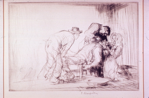 <p>A man is seated on a chair with another man holding his knees and a woman holding his head back while a dentist works on his teeth.</p>