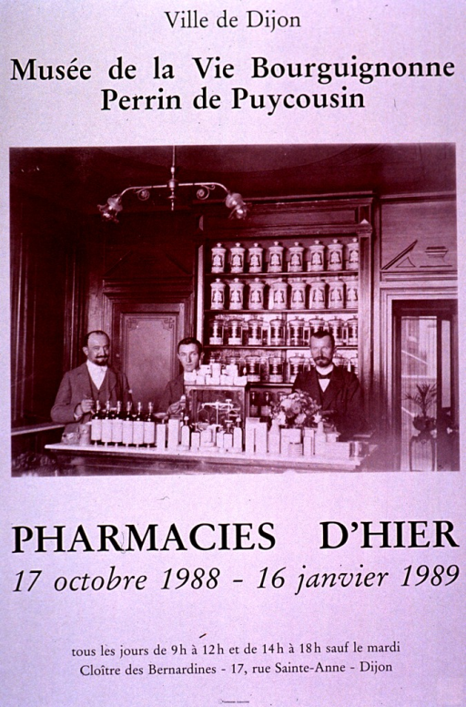 <p>Predominantly white poster with black lettering announcing an exhibit held Oct. 1988-Jan. 1989.  Publisher information at top of poster.  Visual image is b&amp;w photo reproduction featuring three men standing behind the counter of a pharmacy.  A case filled with pharmacy jars is in the background and many bottles line the edge of the counter.  Title below photo.  Dates, hours, and location for exhibit at bottom of poster.</p>