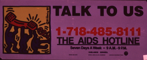 <p>Predominantly colorless, opaque plastic poster with black and red lettering.  Title, an AIDS hotline number, and publisher information on right side of poster.  Visual image is an illustration in which three abstract human figures hold a giant telephone receiver over their heads.</p>