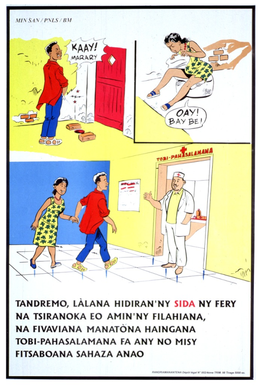 <p>Multicolor poster with black and red lettering, illustrated with three color cartoons.  In the top left cartoon a man stands and winces in pain as he urinates into a hole in the ground.  In the top left cartoon a woman bends over in pain as she lifts her dress and examines herself.  In the bottom cartoon the man and woman hold hands as they approach a doctor who stands in the doorway of an AIDS/STD clinic.</p>