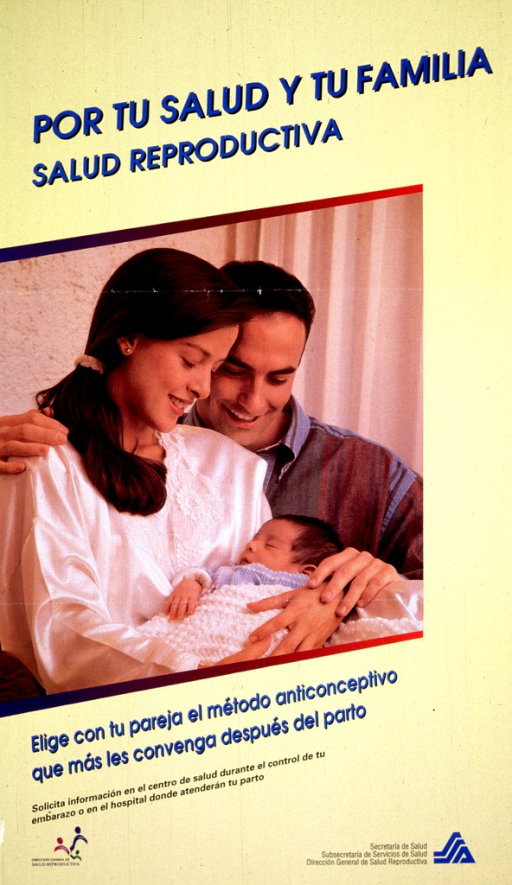 <p>Yellow background with blue and black lettering. A large color photo reproduction graph covers the middle portion of poster. It shows a smiling mother and father looking down at an infant covered by a blanket, whom the mother is holding in her arms. Logos are in the bottom left-hand corner and in the bottom right-hand corner.</p>