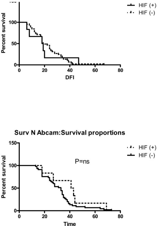 Progress free interval and overall survival curves (p > 0.05) using only Abcams antibody to define HIF1a positive/negative.