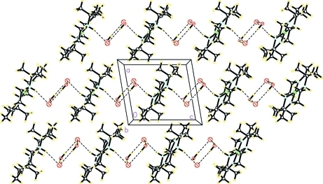 View of (I) along b, showing chains of organic cations running parallel to the (001) direction, with Br- anions and water molecules lying between them.