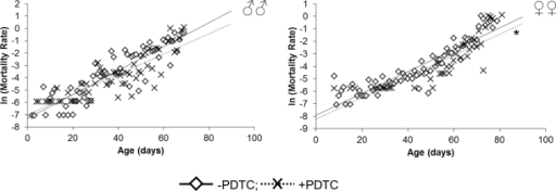 Effect of a NF-κB inhibitor (PDTC) on the rate of the age-dependent mortality* p<0.001 Maximum likelihood method.