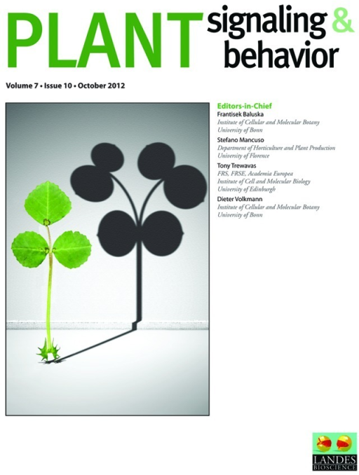 Figure 2. Cover of Plant Signaling and Behavior Volume 7, Issue 10 (October 2012).