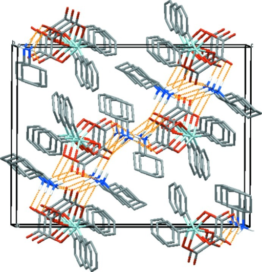 Crystal packing of the title compound, viewed approximately along the b axis, showing the layer-like arrangement parallel (101) via hydrogen-bonding inter­actions (dashed orange lines). H atoms not involved in hydrogen bonding have been omitted for clarity. Colour code: Sn = light blue, C = dark grey, H = white, N = dark blue and O = red.